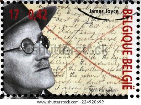 BELGIUM - CIRCA 2000: A stamp printed by BELGIUM shows image portrait of famous Irish novelist and poet  James Augustine Aloysius Joyce, circa 2000. - stock photo