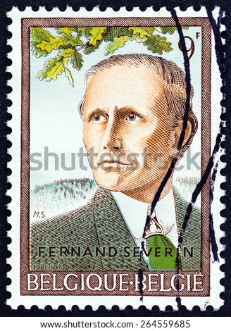 """BELGIUM - CIRCA 1981: A stamp printed in Belgium from the """"Culture Edition """" issue shows poet Fernand Severin (50th death anniversary), circa 1981.  - stock photo"""