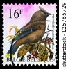 "BELGIUM - CIRCA 1992: a stamp printed in Belgium shows a bird, with the inscription ""Jaseur boreal"", from the series ""Birds"", circa, 1992 - stock photo"