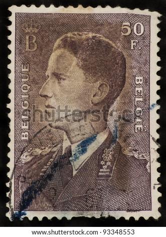 BELGIUM - CIRCA 1952: A stamp printed in Belgium shows Baudouin I King of the Belgians (1930-1993) - stock photo