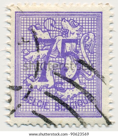 BELGIUM - CIRCA 1966:A stamp printed in Belgium shows image of The coat of arms of the Kingdom of Belgium bears a lion or Leo Belgium, circa 1966