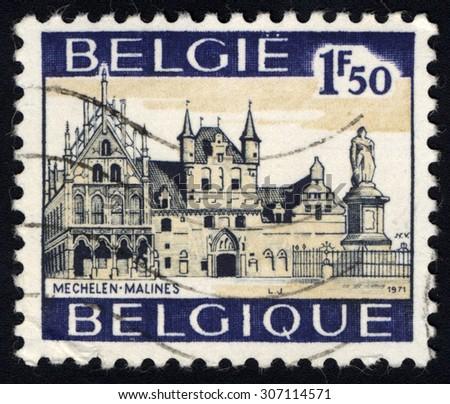 BELGIUM - CIRCA 1971: A stamp printed in Belgium, shows  Mechelen, Malines, circa 1971 - stock photo