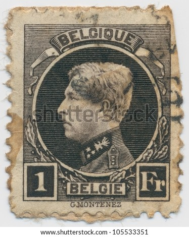 BELGIUM - CIRCA  1922: A stamp printed in Belgium shows portrait King Albert I, circa 1922