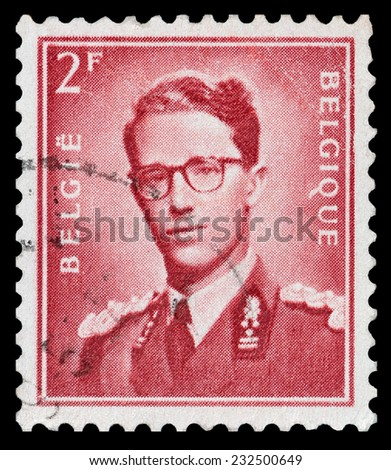 BELGIUM - CIRCA 1953: A stamp printed in Belgium shows portrait King Baudouin (1930-1993), circa 1953 - stock photo