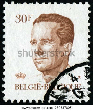 """BELGIUM - CIRCA 1982: A stamp printed in Belgium shows portrait of King Baudouin (Albert Charles Leopold Axel Marie Gustave de Belgique), without inscription, from series """"King Baudouin"""", circa 1982 - stock photo"""