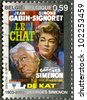 """BELGIUM - CIRCA 2003: A stamp printed in Belgium shows Poster for """"The Cat"""", created by Georges Simenon (1903-1989), circa 2003 - stock photo"""