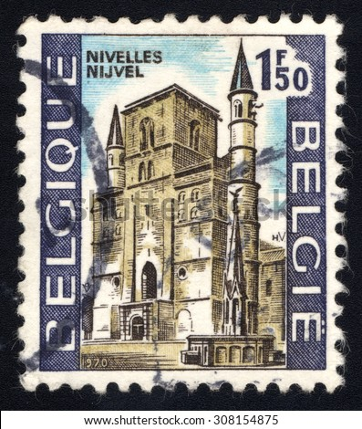 BELGIUM - CIRCA 1970: A stamp printed in Belgium, shows Romanesque Cathedral at Nivalles, It is a Walloon city and municipality located in the Belgian province of Walloon Brabant, circa 1970
