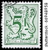 BELGIUM - CIRCA 1980: A Stamp printed in BELGIUM shows the Heraldic Lion, series, circa 1980 - stock photo