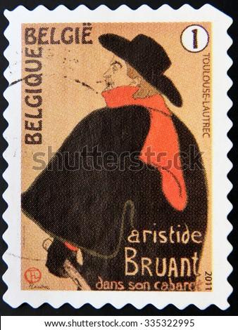 BELGIUM - CIRCA 2011: A stamp printed in Belgium shows Toulouse-Lautrec, Aristide Bruant dans son Cabaret 1893, circa 2011  - stock photo