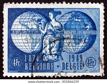 BELGIUM - CIRCA 1949: a stamp printed in the Belgium shows Allegory of UPU (Universal Postal Union), circa 1949 - stock photo