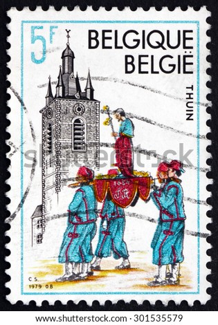 BELGIUM - CIRCA 1979: a stamp printed in the Belgium shows Belfry, Thuin, UNESCO World Heritage Property, circa 1979 - stock photo