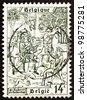 BELGIUM - CIRCA 1977: a stamp printed in the Belgium shows Conversion of St. Hubertus, 1250th Anniversary of the Death of St. Hubertus, circa 1977 - stock photo