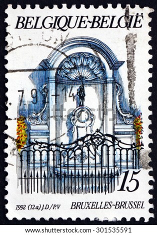BELGIUM - CIRCA 1992: a stamp printed in the Belgium shows Manneken Pis Fountain, was Designed by Hieronymus Duquesnoy the Elder, Brussels, circa 1992 - stock photo