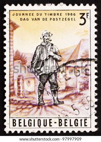 BELGIUM - CIRCA 1966: a stamp printed in the Belgium shows Rural Mailman, 19th Century, circa 1966