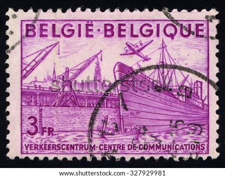 BELGIUM - CIRCA 1948: A stamp printed in the Belgium shows ship, circa 1948