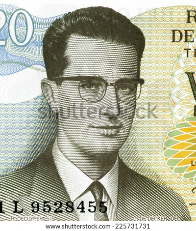 BELGIUM - CIRCA 1964: Baudouin of Belgium (1930-1993) on 20 Francs 1964 Banknote from Belgium. King of the Belgians during 1951-1993. - stock photo