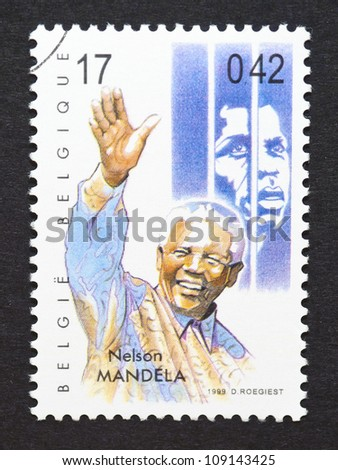 BELGIUM -Â?Â? CIRCA 1999: postage stamp printed in Belgium showing an image of Nelson Mandela, circa 1999. - stock photo