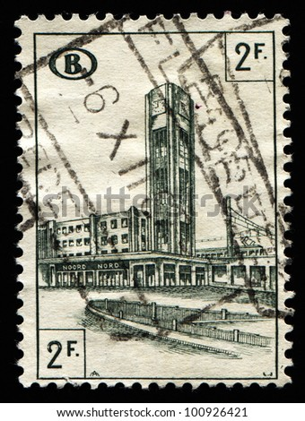 BELGIUM - CIRCA 1960s: A stamp printed in Belgium shows landmark building in the capital city, circa 1960s.