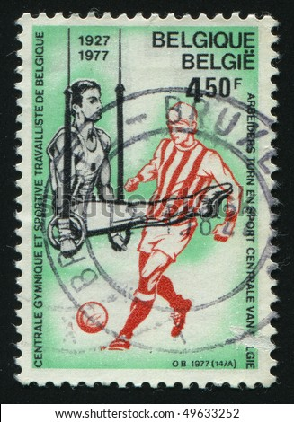 BELGIUM - CIRCA 1977: stamp printed by Belgium, shows soccer players and ball, circa 1977.