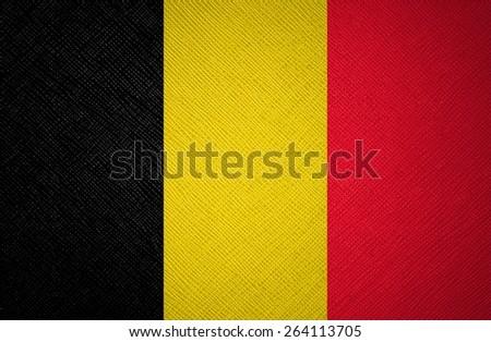 Belgium flag leather texture - stock photo