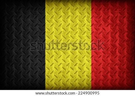 Belgium flag pattern on the diamond metal plate texture ,vintage style - stock photo