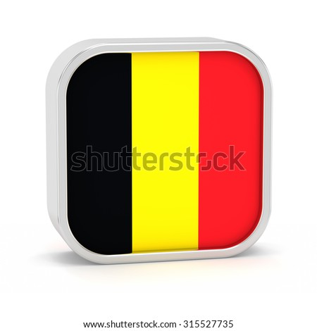 Belgium flag sign on a white background. Part of a series. - stock photo