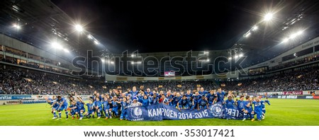 BELGIUM, GENT - May 21th 2015: at the Ghelamco Arena During championship match for KAA Gent vs Standard de Liege , panoramic overview of champions ship team celebrating the victory