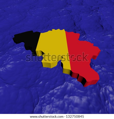 Belgium map flag in abstract ocean illustration