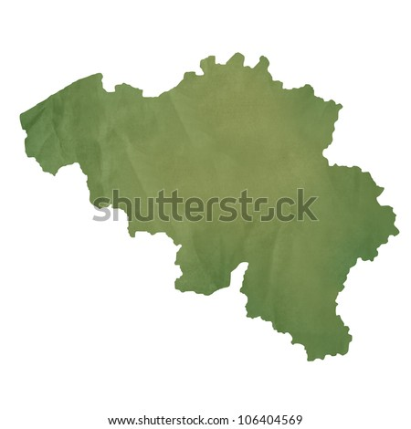 Belgium map in old green paper isolated on white background.