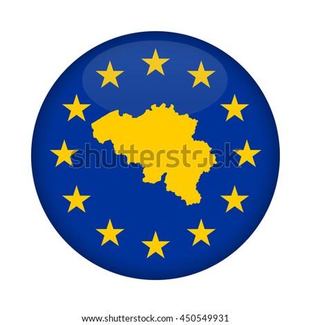 Belgium map on a European Union flag button isolated on a white background. - stock photo