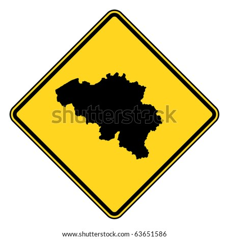 Belgium map road in yellow, isolated on white background.
