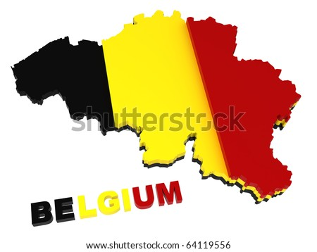 Belgium, map with flag, clipping path included, 3d illustration, isolated on white - stock photo