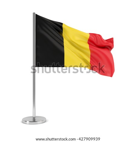 Belgium national waving flag isolated on white background. 3D illustration - stock photo