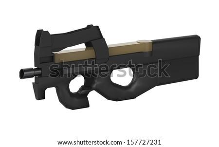 Belgium sub machine gun design by 3D graphic in isolation - stock photo
