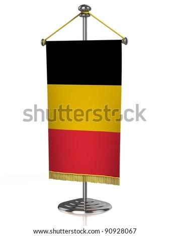Belgium table flag isolated on white - stock photo