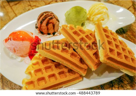 Belgium Waffle with difference ice cream and sauce