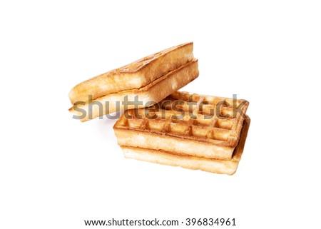 belgium waffles isolated on white background - stock photo