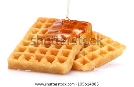 belgium waffles with honey isolated on white - stock photo