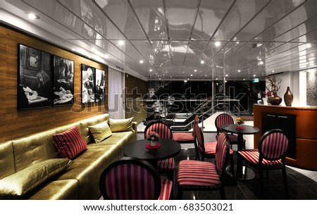 "BELGRAD, SERBIA, 11 SEP 2015: luxurious interior of restaurant on ship ""Amadeus Silver II"".River rest and meals for tourists on Amadeus Silver II in Belgrad, Serbia on 11 september 2015"