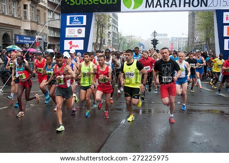 "BELGRADE-APRIL 18:A group of runners start race on ""28th Belgrade Marathon"".April 18, 2015 in Belgrade, Serbia  - stock photo"