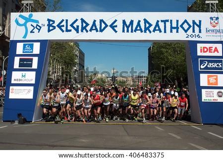 "BELGRADE-APRIL16:A group of runners start race on ""The29th Belgrade Marathon"".April 16, 2016 in Belgrade,Serbia  - stock photo"