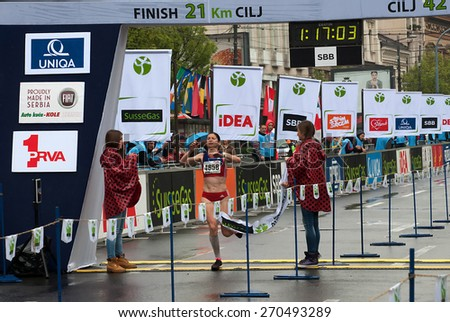 "BELGRADE-APRIL 18:""28th Belgrade Marathon"".Ana Suboti (SRB) won in half marathon for women with time1 hour 17min 03sec.On April 18,2015 in Belgrade, Serbia  - stock photo"
