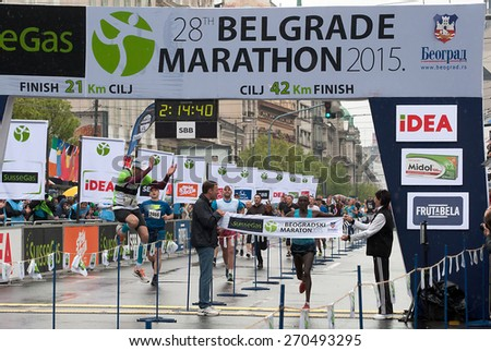 "BELGRADE-APRIL 18:""28th Belgrade Marathon"".Finish of marathon for man.Winner is Sang Silas Kipngetich (KEN) with time:2 hour14min 40sec.On April 18, 2015 in Belgrade, Serbia  - stock photo"