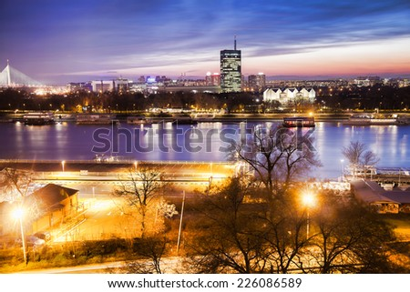 Belgrade city with Danube river in the evening,  Capital city of Serbia - stock photo