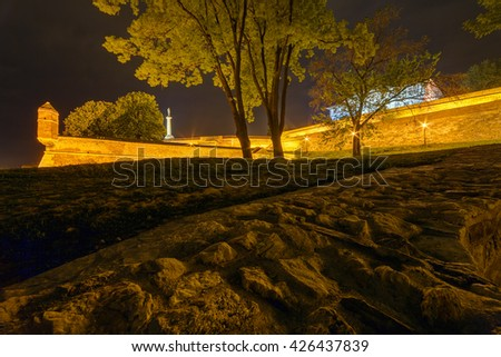 Belgrade fortress and Kalemegdan park with victor monument at night - stock photo