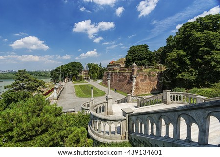 Belgrade fortress and panorama view on victor monument - stock photo