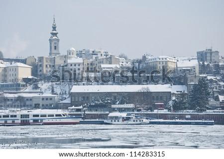 Belgrade in the winter - stock photo