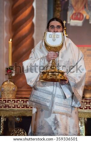 BELGRADE-JANUARY 7.Mr.Bishop Toplicki vicar of the Serbian Patriarch,during the Christmas Liturgy in the Temple of Saint Sava in Belgrade.January 7,2016 in Belgrade, Serbia  - stock photo