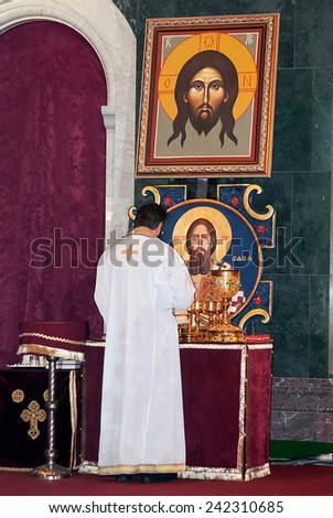 BELGRADE-JANUARY 7.Preparation for the Christmas Liturgy in the Temple of Saint Sava in Belgrade.January 7,2015 in Belgrade, Serbia    - stock photo