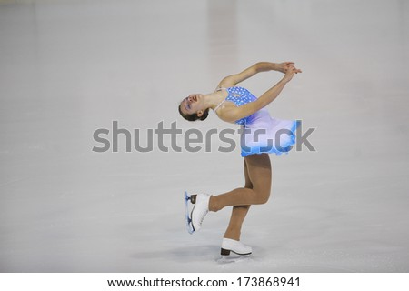 "BELGRADE - JANUARY 24: Slovenia's Lara Gucek performs her short program at Europa Cup figure ice skating competition ""Skate Helena"" in Belgrade, Serbia on January 24, 2014 - stock photo"
